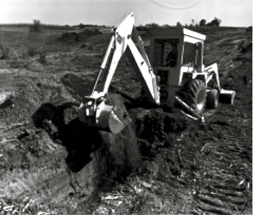 A core trench is cut on the centerline of a dam